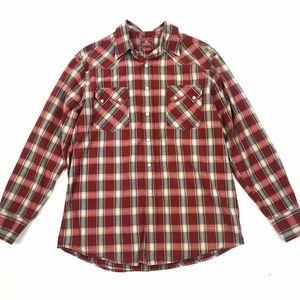 Lucky Brand Plaid Snap Western Shirt Sz M